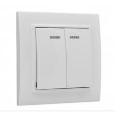 ჩამრთველი 2-კლავიში ინდიკატორით 10A თეთრი EKF Basic