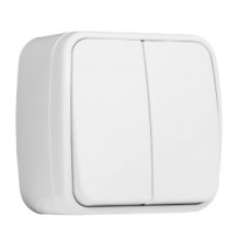 ჩამრთველი 2-კლავიში 10A თეთრი გარე მონტაჟი EKF